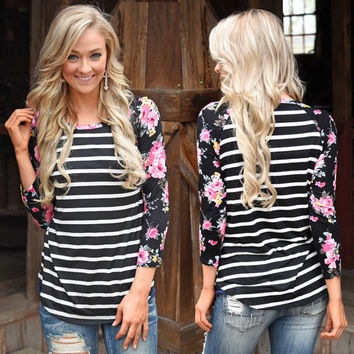 Floral Sleeves Stripe Top