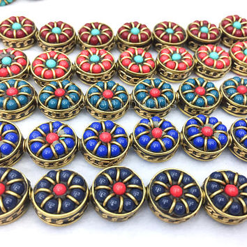 clay coin beads - polymer clay pendants - polymer clay necklace beads - polymer clay jewelry ideas - polymer clay jewellery designs - 4pcs