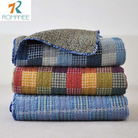 Romanee Brand Home European Style Cotton Summer Patchwork Quilt For Adults Blanket Blue Plaid