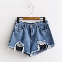 Mini Holey Denim Jean Shorts