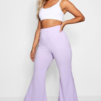 Plus Crepe Flared Trouser | Boohoo