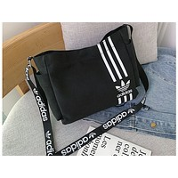 ADIDAS x NIKE Hot Selling Fashion Printed Canvas Lady's Single Shoulder Bag Shopping Bag ADIDAS black