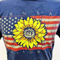 1990s Vintage T-Shirt Medium Kansas Sunflower State US Flag