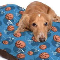 Blue Basketball Themed Pattern Pet Bed - 3 Sizes