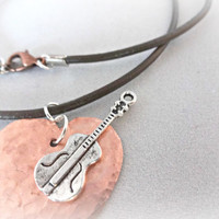 Music to my Heart, Copper Heart Necklace, Music Lover Gift