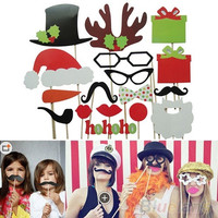 17Pcs DIY Photo Booth Props Mustache Lip Hat Antler Gift Stick Christmas Party = 1946372164
