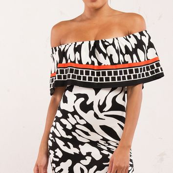 Black, White, Red Pattern Off Shoulder Dress