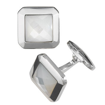 Square Faceted Mother of Pearl Cufflinks