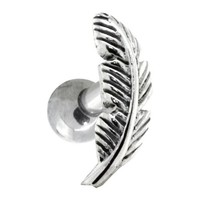 Left Ear - Nature Leaf Surgical Steel and 925 Sterling Silver Cartilage Piercing Earring Stud
