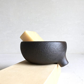 MATTE BLACK Soap Dish with strainer for bathroom sink, ceramic, pottery, handmade, soapdish, soap tray, soap holder