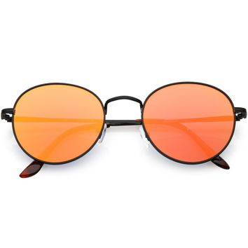 Retro Slim Metal Frame Mirrored Flat Lens Round Sunglasses C133