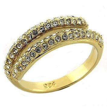 WildKlass 925 Sterling Silver Ring Gold Women AAA Grade CZ Clear