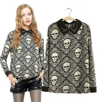 Double-layer rivet punk Skull T-Shirts for women autumn winter trend casual long sleeve tops Tees shirts