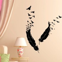 Feathers and Birds Vinyl Wall Decal Sticker Art Graphic Decals Stickers
