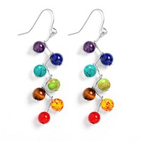 7 Chakra Round Beads Drop ~ Metaphysical Earrings