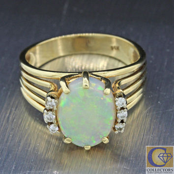 Vintage Estate 14k Solid Yellow Gold 11mm Oval Opal .06ctw Diamond Ring