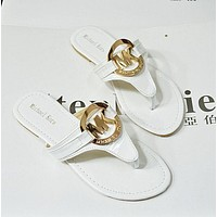MK Fashion Women Leisure Golden Logo Sandal Slipper Shoes White I