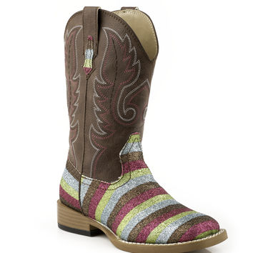 Roper Kids Boot Bling Sqtoe Faux Leather Sole Boots Brown Shaft W Multi Color Glitter Vamp