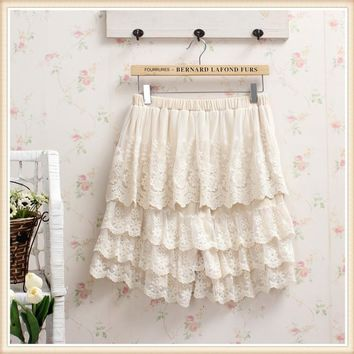 Sweet Japanese Mori Girl Summer Style Women Lace Shorts Skirts Solid Color Elastic Waist Patchwork Hook Flower Hollow Out Shorts