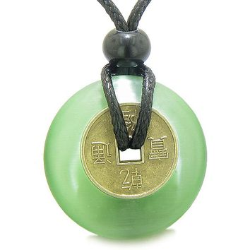 Antique Lucky Coin Magic Powers Amulet Neon Green Cat's Eye Crystal 30mm Donut Pendant Necklace