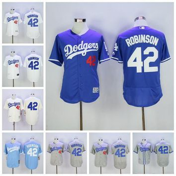 MLB Men 42 Jackie Robinson Jersey Vinatge Los Angeles LA Dodgers Baseball Jerseys Flex