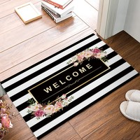 Autumn Fall welcome door mat doormat Black And White Stripe Floral Welcome s Kitchen Floor Bath Entryway Rug Mat Absorbent Indoor Bathroom 32 x 20 Inch AT_76_7