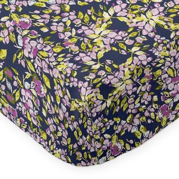 Fitted Crib Sheets | Bougainvillea Lilac and Navy Floral