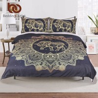 BeddingOutlet Mandala Flowers Elephant Duvet Cover Set Black Dark Blue Bedding Set Queen Vintage Soft Quilt Cover Set Mandala
