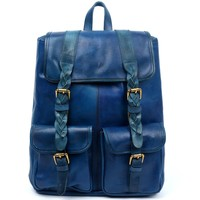 Navy Pu Backpack