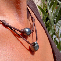 Tahitian pearls, 3 genuine pearls, necklace for woman, hand rolled australian leather