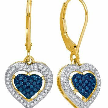 10kt Yellow Gold Women's Round Blue Color Enhanced Diamond Heart Dangle Earrings 3-8 Cttw - FREE Shipping (USA/CAN)