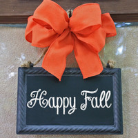 Halloween Wreath Alternative, Metal Sign, Hanging Orange Mesh Bow, teacher door sign, CHALKBOARD, write your own message, hanging sign