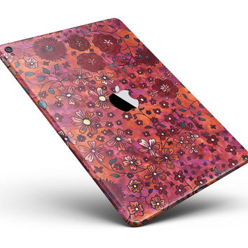 "Floral Pattern on Red Watercolor Full Body Skin for the iPad Pro (12.9"" or 9.7"" available)"