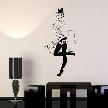 Vinyl Wall Decal Pin Up Sexy Girl Retro Woman Stickers Unique Gift (864ig)