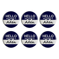 Aden Hello My Name Is Plastic Resin Button Set of 6