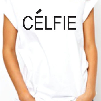 Celfie roled sleeves women Tshirt. Selfie parody Tee. Junior T-shirt. Cool top. White and Black. Celine Paris inspired