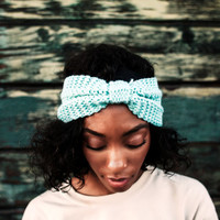 Blue Wool Knitted Headband