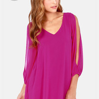 LULUS Exclusive Shifting Dears Magenta Long Sleeve Dress
