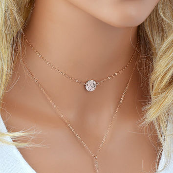 Gold Disc Necklace, Choker Necklace, Initial Necklace, Personalized Necklace Choker, Name Necklace Gold, Silver, Rose Gold