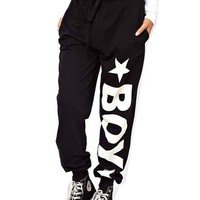 WIIPU Womens loose hip hop punk sports pants with london boy print(J115) (L)