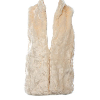 DejaVu Faux Broadtail Vest with Stand Collar (Winter White)