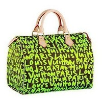 Louis Vuitton Classic Leather Graffiti Bag Green - $216.00