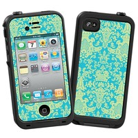 Vintage Blue Green Damask Skin  for the iPhone 4/4S Lifeproof Case by skinzy.com