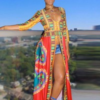 African inspired split dress