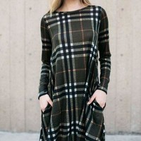 Olive green plaid long sleeve sweater swing country western shift dress
