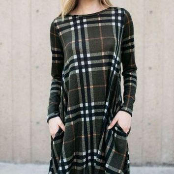 Olive green plaid long sleeve sweater swing country western shift dress.