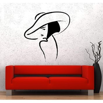 Wall Sticker Vinyl Decal Beautiful Girl Hat Fashion Beauty Woman Unique Gift (ed473)