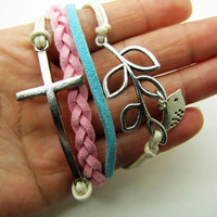 silvery branch crossing bracelet women multicolor rope bracelet women jewelry bangle  1291A