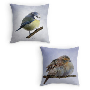 Garden Birds Throw Pillow, Bird Scatter Cushion, Fine Art Cushion Cover, Bird Lover Gift