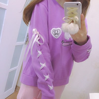 High quality Harajuku Rabbit Letter Embroidery Ribbons Velvet Pullovers Girly Girls Cute Women Cotton Soft Sweet Fashion Hoodies